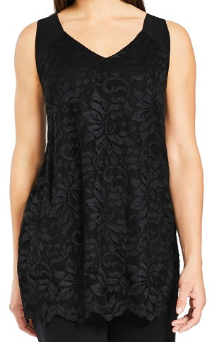 Sympli Sleeveless Top, Lace Reversible Cami, Style 3131 Color Black