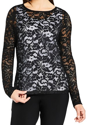 Sympli Womens Lace Barely T Top, Style SYIS3219-3, Color Black