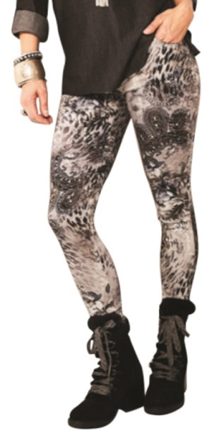 Lisette L. Skinny Leg Pants Style 29605 Animal Baroque Print Color Brushed Nickel