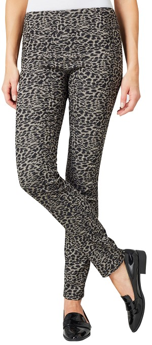 Lisette L. Skinny Legs Pants Style 99605 Leopard Pattern Color Black / Mushroom