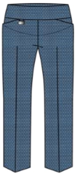 Lisette L. Sport Slim Ankle Pants Style 24053 (With Pockets) Tiki Print Color Denim Blue